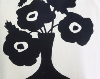 Large 30x30 Black Poppie Tea Towel