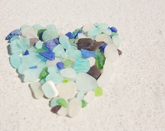 Beach Glass Photography - Beach Glass - Sea Glass Photograph - HEART - Beach Decor - Fine Art Photography Print - White Aqua Blue Home Decor