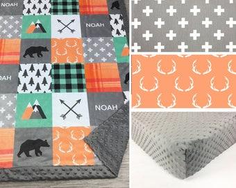 Bear Deer CRIB SET, baby minky bedding, woodland bedding, orange gray bear deer crib set, lumberjack blanket, baby shower gift boy crib set