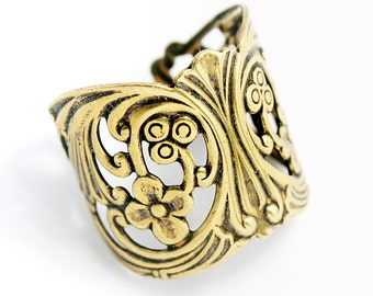 Sturdy Gold Plated Ring Blank with Art Nouveau Styling, Adjustable Ring Blank , Made in USA, #TB110G