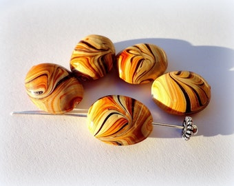 4pcs Caramel Brown Oval Lampwork Beads 15 x 20mm Brown Glass Beads Lampwork beads Jewelry Supplies