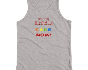 Youth Its My Birthday CAKE Now Red Kids Tank Top Shirt