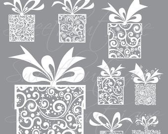 WHITE 8 Gift Boxes Present Clip Art Primary Clipart Scrapbook Label Tag Make Your Own 0589