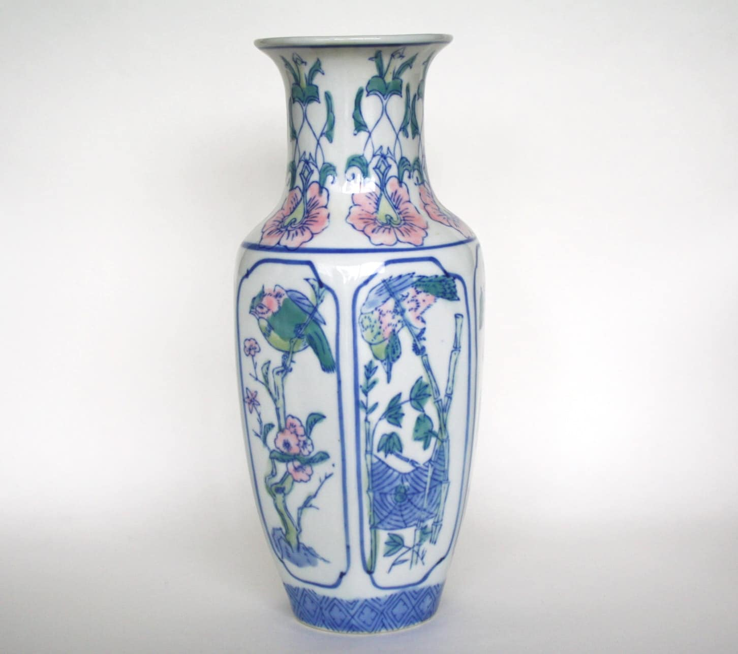 Pink chinoiserie tall vase porcelain teal and pink zoom reviewsmspy