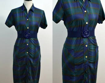 Vintage 1960s Shift Dress / 60s Shift Dress / Blue Striped / Medium M / Collared Shirt Dress / Dress with Pockets / Wiggle Dress