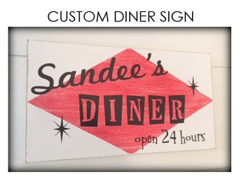 Custom Diner Sign - Retro Diner - Moms Diner Sign - Diner Decor - Vintage Kitchen Decor - Chef Sign - Mother's Day Gift - 1950s Diner Bistro