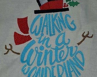 snowman winter wonderland machine embroidery design, wordart, 9 formats available, dst, exp, hus, jef, pes, sew, vip, vp3, xxx, 3 sizes