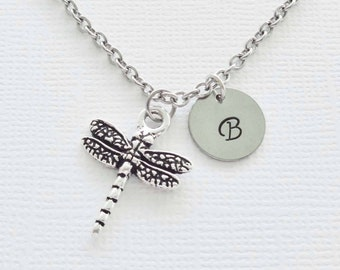 Dragonfly Pewter Necklace Insect Silver Initial Necklace Personalized Monogram Dragon Fly Silver Jewelry Birthday Animal Jewelry Nature Gift