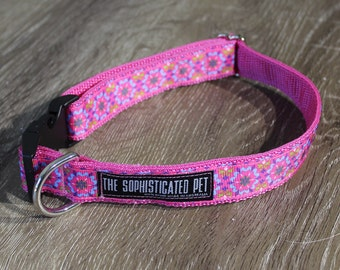 Kaleidoscope Dog Collar / Pink Dog Collar / Handmade Dog Collar