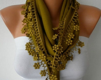 Olive Green Floral Pashmina Scarf,Summer Scarf, Cowl Scarf, Bridesmaid Gift,Gift Ideas For Her, Women Fashion Accessories,Valentie's Gift