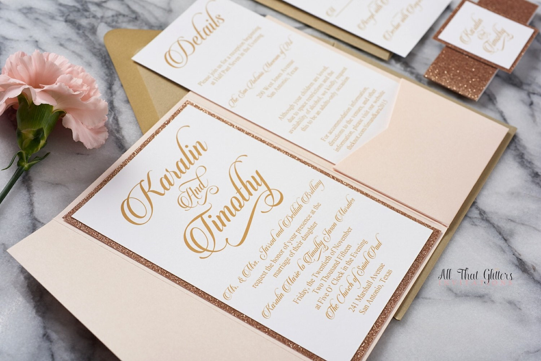 Wedding Invitations Rose: Rose Gold Wedding Invitation Set Rose Gold Glitter