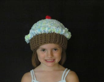 Crochet Cupcake Hat ~ Size Small ~ Blue, green and white top with Medium Brown bottom
