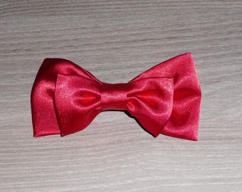 Hair clip Red satin double bow