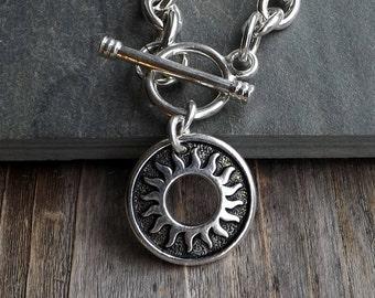 Silver Sun charm bracelet / Celestial bracelet / Silver link charm bracelet with toggle closure