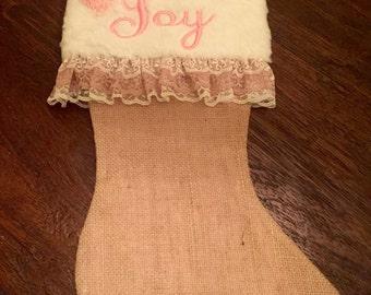 Custom Burlap Christmas Stocking - White fur + pink ribbon