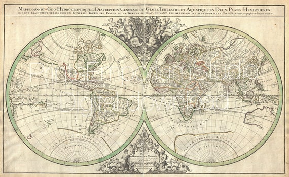 Old world map printable digital download sanson world map on old world map printable digital download sanson world map on hemisphere projection geographicus 1691 print it yourself instant download gumiabroncs Choice Image