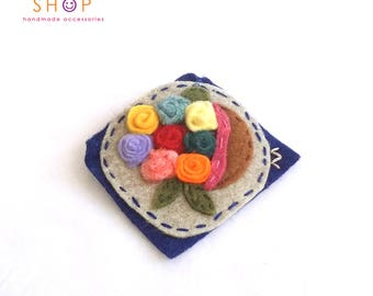Flowerpot Brooch, Flower brooch, Handmade brooch, Felt Brooch, Handmade felt, embroidery brooch, Gift, Brooch, Fashion jewelry, mother's day