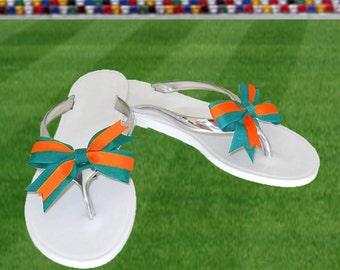 Orange + Aqua Bow Jelly Sandals