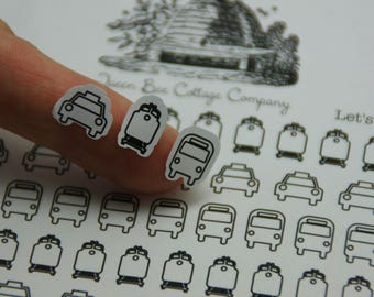 52 Assorted Transportation Stickers - Taxi/Bus/Commuter Train - Planner/Calendar/Icon Stickers - Back to School/College - Made in USA!