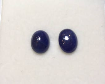 Natural Blue Sapphire 6 to 11 MM Oval Cabochon PAIRS . Price per piece. Heated. No Treatment/Filling. Deep Color.