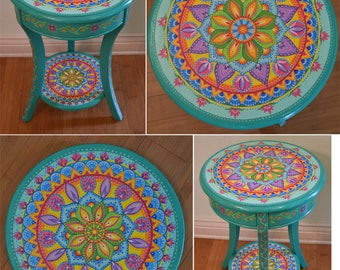 Marvelous Hand Painted Round Accent Table. Painted Furniture, Boho Style. Solid Wood.  26.5