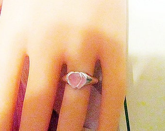 Vintage Silver Heart Ring - Size 6 - R-071
