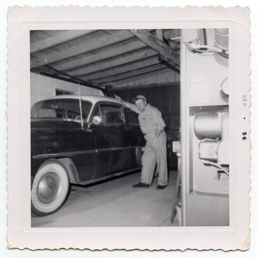 September 1956 Man Classic Car In Garage Vintage Snapshot Mid