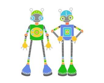 Two robots room decor print robot illustration robot art for kids nursery print wall art gray baby room robot drawing nursery art wall decor