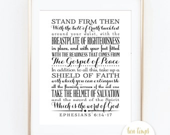 "Ephesians 6:14 - 17 - 8x10"" - INSTANT DOWNLOAD - Stand firm then, with the belt of truth buckled around your waist, with the breastplate..."