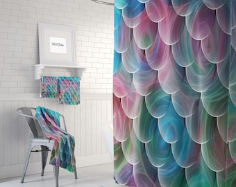 sWIRLING Mermaid Scales Shower Curtain Turquoise Blue, pINK  Purple,  Bath Mat and Towels