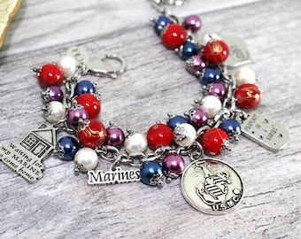 USMC Wife Charm Bracelet in Stainless Steel | USMC Girlfriend, Mom Bracelet | Marine Corps Wife Jewelry | Marine Mom, Girlfriend Jewelry