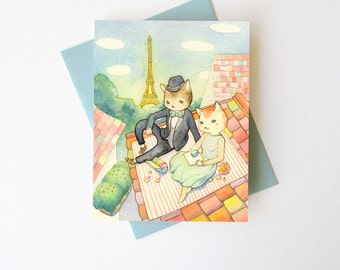 "Love / Anniversary Card  - ""Kitties in Paris"" - romantic animal love"
