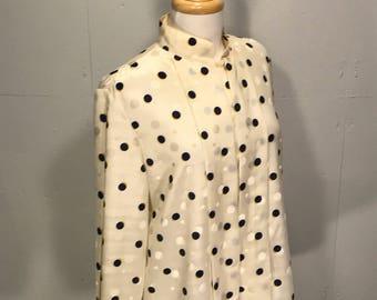 80s power suite blouse Celeste poetaster pleated polka dot cream black and white top