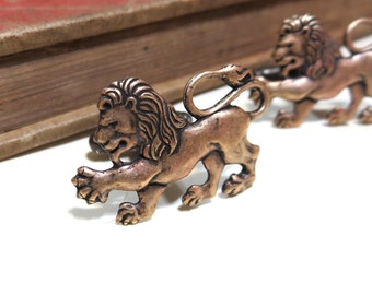 Antiqued Brass Lion Filigree Cuff Links - Medieval - antique gold - Victorian - Soldered - Game of Thrones - Lannister
