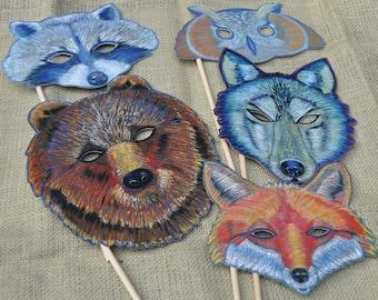 Wedding Animal Masks Hand-Held/ Woodland Masks/ Set of 5