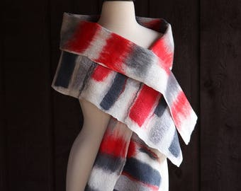 Felted scarf, merino wool scarf, abstract scarf, red, white, gray, multicolor, art scarf, nuno felt, abstract design, wearable fiber art