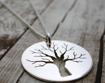 Sturdy Oak Tree Pendant - Family Oak Tree Jewelry - Sterling Silver Tree of Life Necklace - Hand Cut Sterling Sliver Pendant by EWD