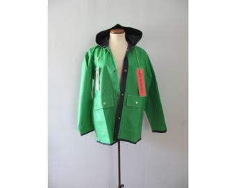 vintage reversible raincoat - 70s Swell-Wear kelly green blue snap up big pocket hooded mod hipster retro PVC parka windbreaker jacket NWT