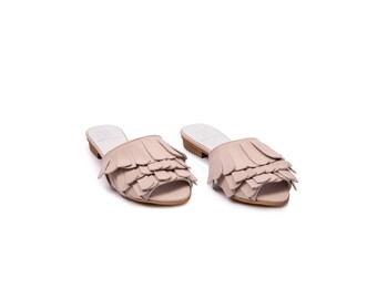 30% off Summer Sale, Slip on mules, Slide Sandals, Leather Sandals, Flat shoes, Leather Mules, Open Back Sandals, Summer Shoes