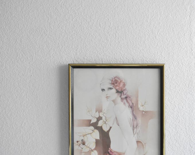 large sara moon framed litho print of a lady