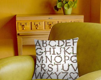 Photographic Sticks Alphabet Pillow Cover - twigs typography - white alphabet pillow case - 2-sided printing