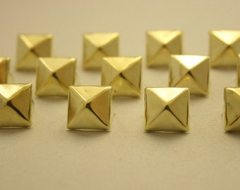 100 pcs. Gold Pyramid Studs Punk Rock Decorations Findings 11 mm. CKSPG11