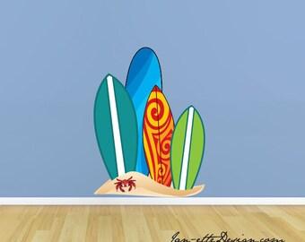 Surfboard Wall Decal, Beach Surfboards Fabric Wall Decal, Beach Wall Art, Surfboard Wall Sticker