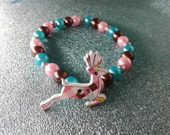 Deer Stag Beaded Button Bracelet