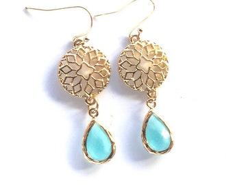 Gold Chandelier Earrings. Aquamarine earrings Dangle Earrings. Statement Earrings. Jewelry Gift. Modern Fashion Drop Earrings. Chandelier Ea