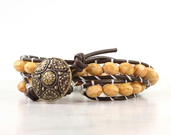 Brown Leather Wrap Bracelet Caramel Winter Fashion Western Style Double Wrap Butter Cream Yellow