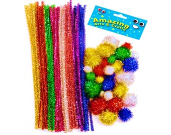 Glittering Pom Poms and Pipe Cleaner pack