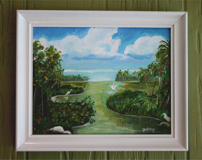 Marsh Birds Original Acrylic Framed Painting Florida Water  Free Shipping USA