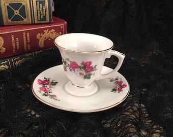 Rose Design Zhongguo Porcelain Tea Cup & Saucer 1970's - Demitasse Teacup with Saucer Gold Trim and Roses