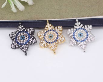 5-10pcs Metal Copper Micro Pave CZ Snowflake connector Beads,Cubic Zirconia evil eye beads For Jewelry Making